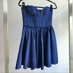 Vivetta Navy Blue Satin Bustier Mini Party Dress